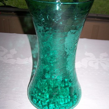 Mid Century Crackle Glass Cylinder Green Vase