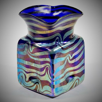 MY 800 post--FRITZ HECKERT, Cobalt Blue Siberband, Shape TH83, CIRCA 1905 - Art Glass