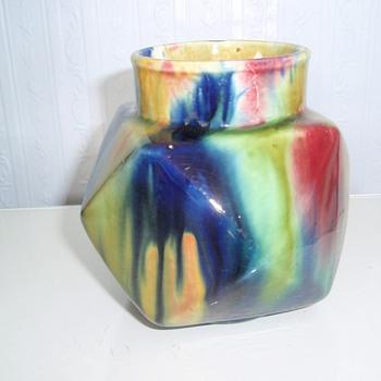 """4 """"  ART POTTERY VASE WITH SUPERB MULTI COLOURED GLAZE. - Pottery"""