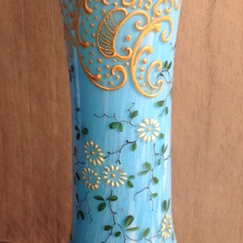 Highly Decorated Blue And White Spatter Vase. - Art Glass
