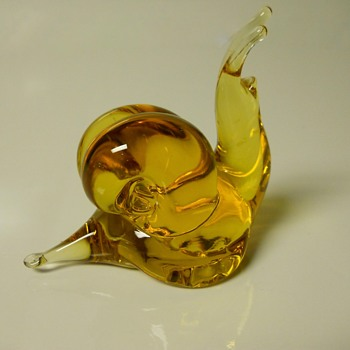 "Amber Art Glass ""Snail"", Sign ??,Circa Mid 20 Century - Art Glass"