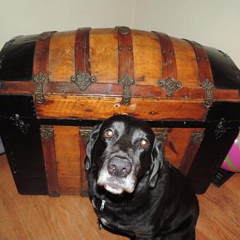 Hump Back Wood & Metal Trunk - Furniture