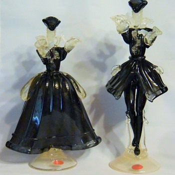 Murano  Courtesan Figurines - Art Glass
