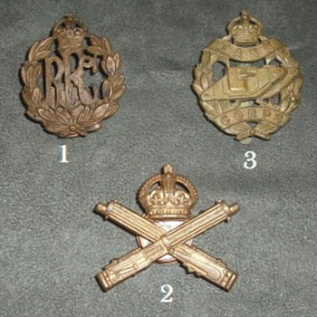 British WWI New Branch Cap Badges - Military and Wartime