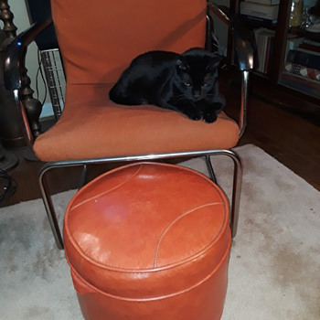 orange/chrome 1980's (?) side chair - Furniture