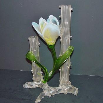 "Art Nouveau Kralik Applied Flower Satin Thorn Vase 11"" x 6"" - Art Glass"