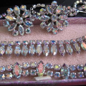 B. DAVID clear-teal AB Rhinestone parure - Costume Jewelry