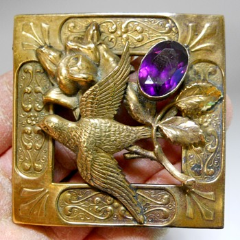 Aesthetic Mouvement Soaring Bird & Amethyst Cut Glass Crystal, Sash Pin Brooch  - Fine Jewelry