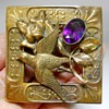 Art Nouveau Soaring Bird & Amethyst Cut Glass Crystal, Sash Pin Brooch