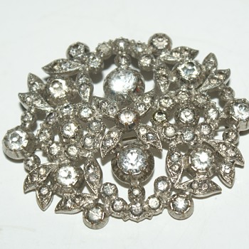 Unusual Rhinestone Brooch - Costume Jewelry