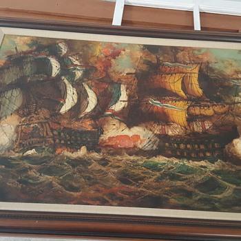 Oil Painting Vaselli Battleship - Fine Art