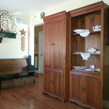 Three Piece Oak Wall Display Cabinets