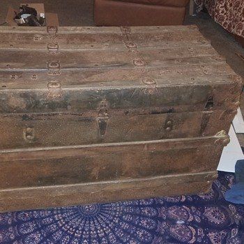 Metal covered flat top trunk found in antique shop for only $10!!!  - Furniture