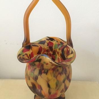 Art Glass Basket in Amber - Art Glass