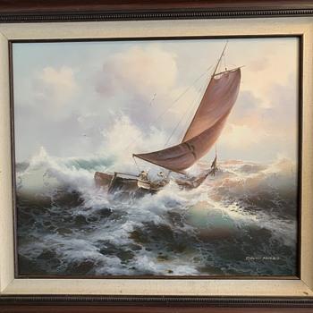 David Morris Nautical Rough Sea Scene Acrylic On Canvas  - Fine Art