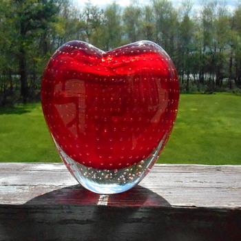 Heart Shaped Art Glass Vase