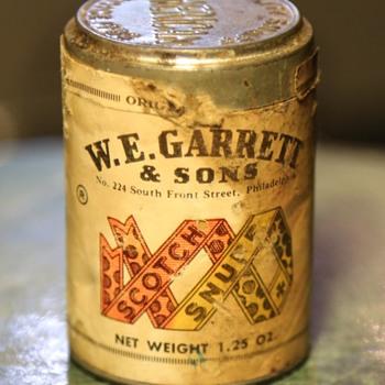 Old can of snuff - still full! - Advertising