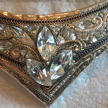 Sterling Statement Necklace - Swarovski Crystals - Orit Schatzman - Silver