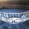 MCM Crystal Art Glass Straight Line Cut Engraved Bowl Scandinavian? Help Identify.