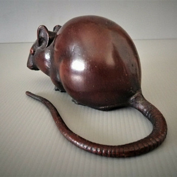 Japanese cast iron mouse/rat okimono - Animals