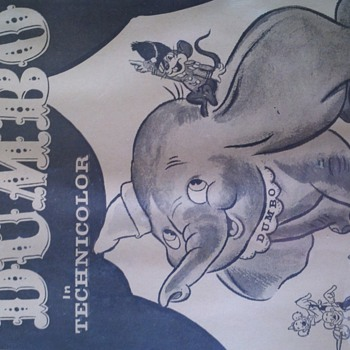 1940's black and white Dumbo poster