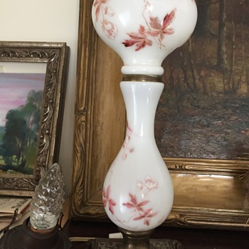 Old Kerosene Lamp with Brass Base - Art Glass