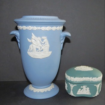 Wedgwood Jasperware Vase and Teal Box - China and Dinnerware