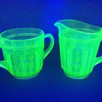 "Vintage Anchor Hocking Vaseline Glass Matching 5"" Pitcher & Creamer / Sugar Container - Glassware"