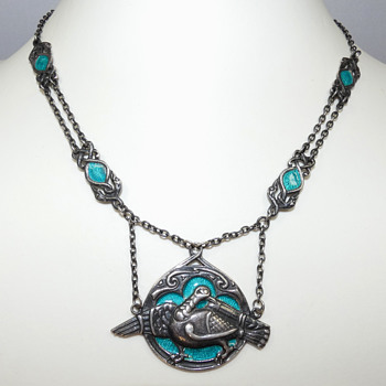 "Silver and Enamel ""Iona Dove"" Necklace by Alexander Ritchie 1933 - Fine Jewelry"