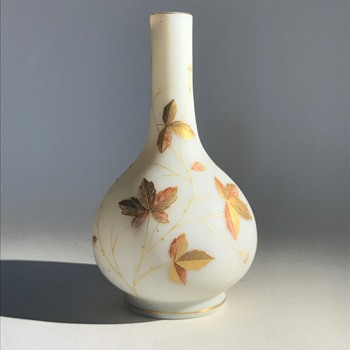 Harrach Cream Glass Vase with Enameling - Art Glass