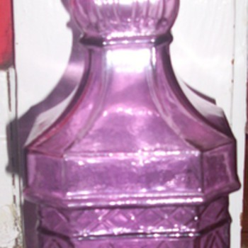 Large Canival Glass Purple Bottle with Cork - Glassware