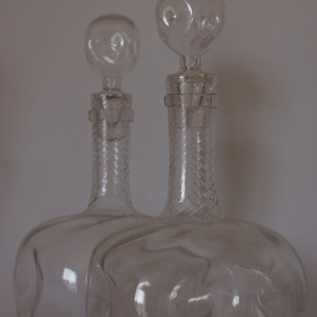 A pair of Wrythen Decanters. - Bottles