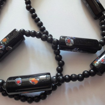 Art Deco 30's Venetian Murano Millefiori long barrel shaped beads Necklace. - Art Deco