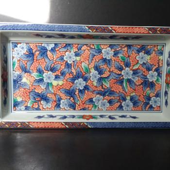 Rectangular porcelain Japanese tray - Asian