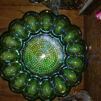 Carnival glass egg dish - Art Glass