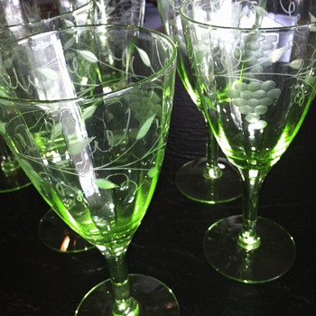 Green Depression Grape Etched Stemware - Glassware
