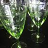 Green Depression Grape Etched Stemware