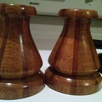 Tapered multi wood candle holders unknown origin