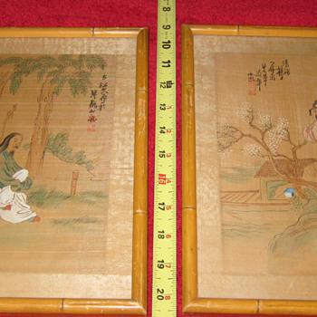 Matching Pair of CHI CHANG HOU Original Chinese Watercolor on Silk
