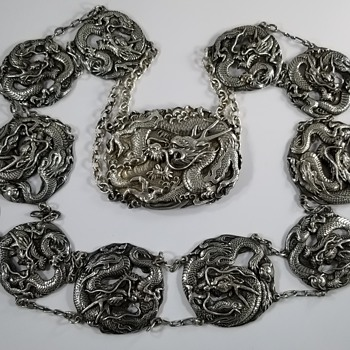 Chinese Silver Dragon Belt - Asian