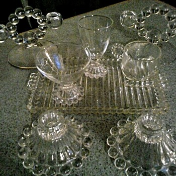 Bubble Bead Pattern (Candlewick or Boopie) Snack Tray Sets and More /Various Makers/Circa 20th Century - Glassware