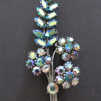 Aurora Borealis Flower Spray Brooch - Costume Jewelry