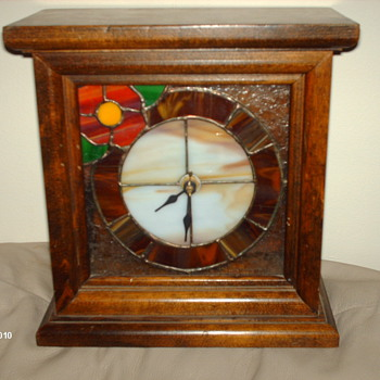 stained glass mantle  clock