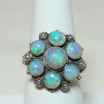 Arts and Crafts Opal and Silver Ring - Fine Jewelry
