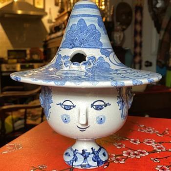 Bjorn Wiinblad Covered Head Jar plus my first restoration attempt - Pottery