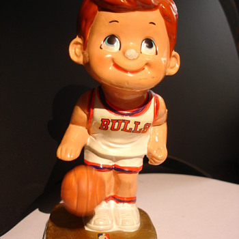 Chicago Bulls Papier Mache/Ceramic Figure with Bouncing Ball