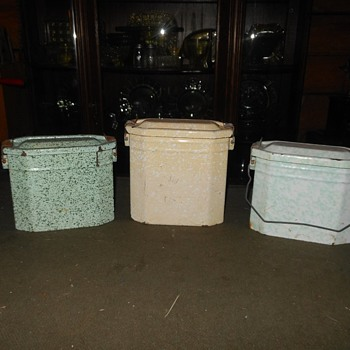 Trio of French Graniteware Lunch Pails