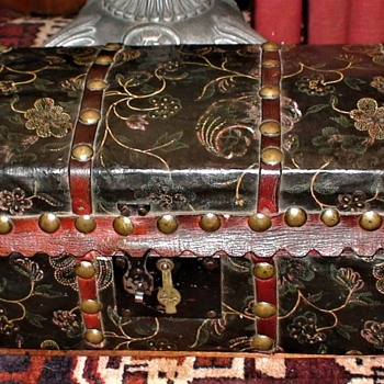 Paint Decorated Leather Covered Wooden Dome-Top Box Ca. 1860 - Furniture