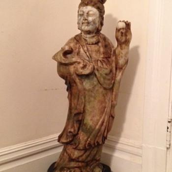 standing female jadeite Buddha  32 inches tall