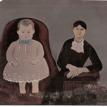 19th century Folk Art Painted Tintype